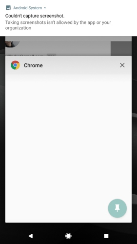Chrome 65 for Android prevents you from saving screenshots