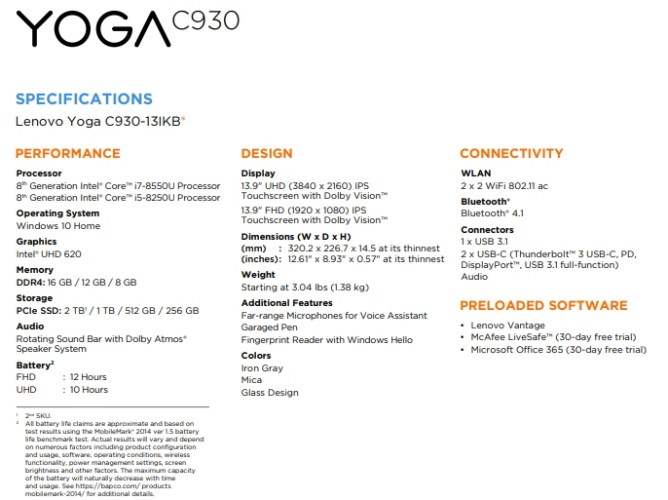 Lenovo Yoga C930 laptop leaked (by Lenovo) - Liliputing