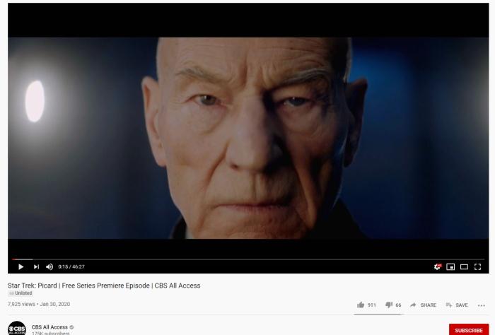 Star Trek Picard on YouTube