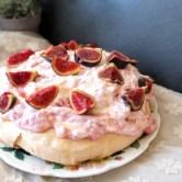 Raspberry, goats' cheese and fig pavlova