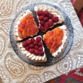 Fresh fruit and cream puff pastry tarts - with raspberries and blood oranges