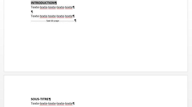 """Exemple d'un saut de page, article """"Didacticiel Microsoft Word: Petit guide pour utiliser les sauts de page"""""""