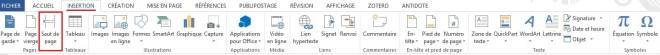 """Saut de page dans l'onglet INSERTION, article """"Didacticiel Microsoft Word: Petit guide pour utiliser les sauts de page"""""""