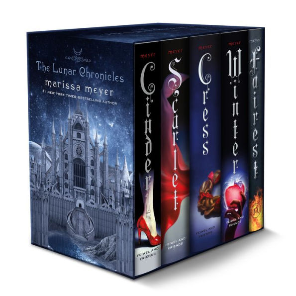 The Lunar Chronicles Boxed Set, Feiwel and Friends. Inclut Cinder, Scarlet, Cress, Winter et Fairest de Marissa Meyer. Avis lecture sur lilitherature.com.