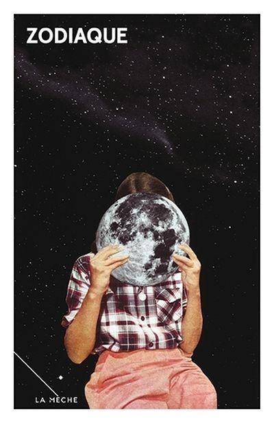 Fille dans l'espace qui se cache derrière la lune