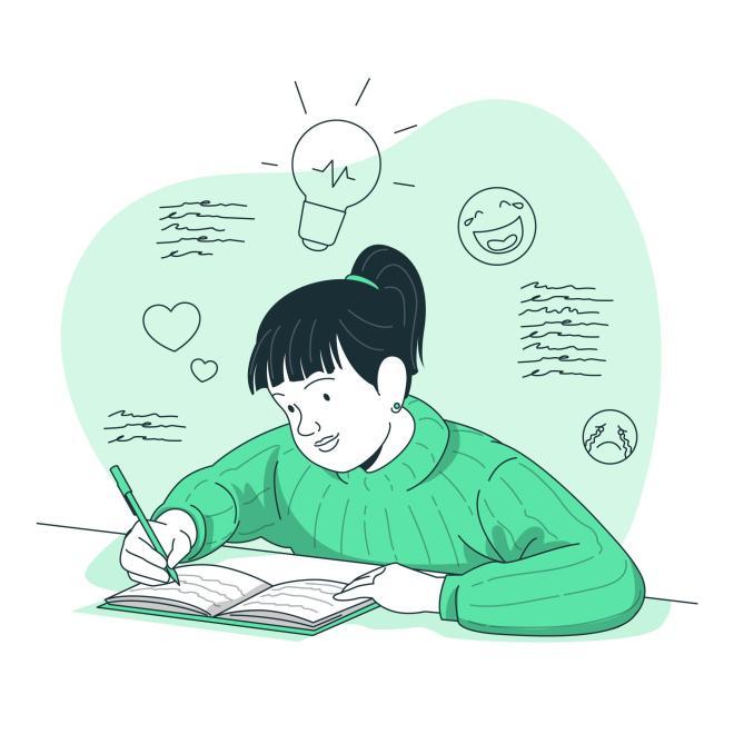 Fille qui écrit dans un journal