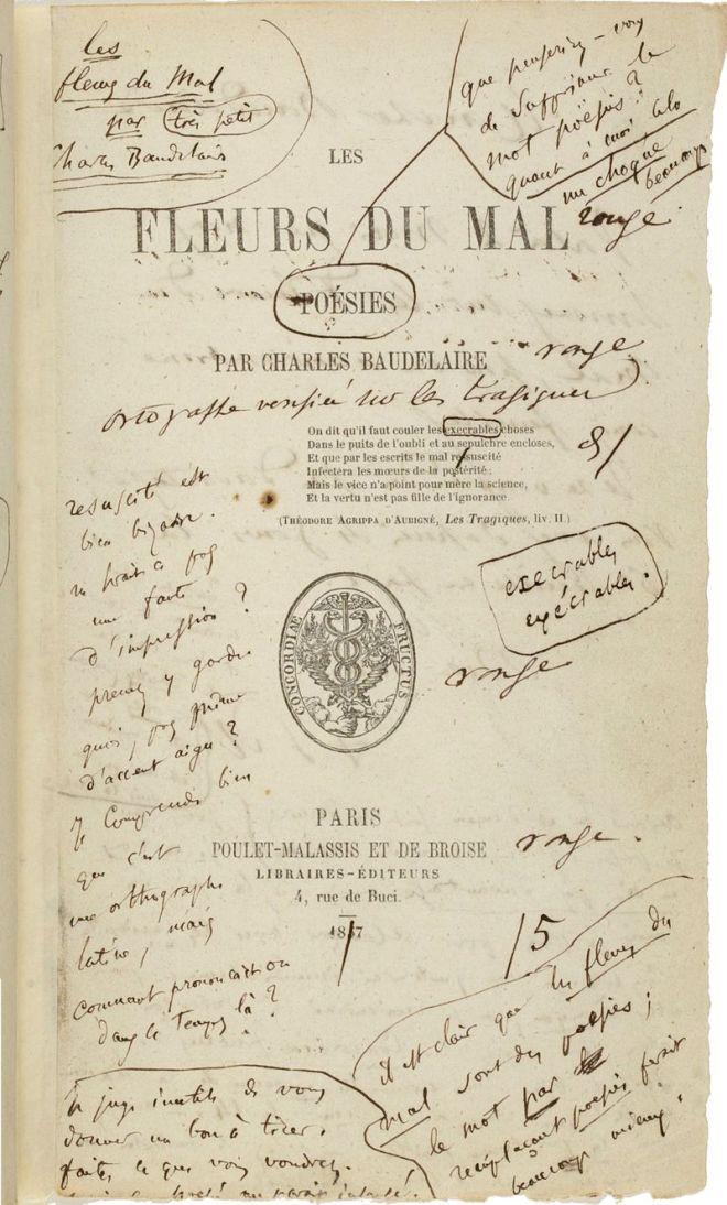 Les Fleurs du mal, 1857, annoté