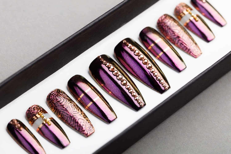 Amazing Purple Press On Nails Lilium Nails