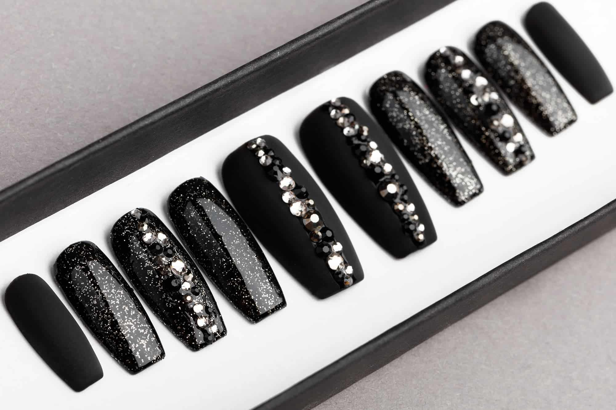 Black Abstract Press On Nails with Swarovski crystals ...