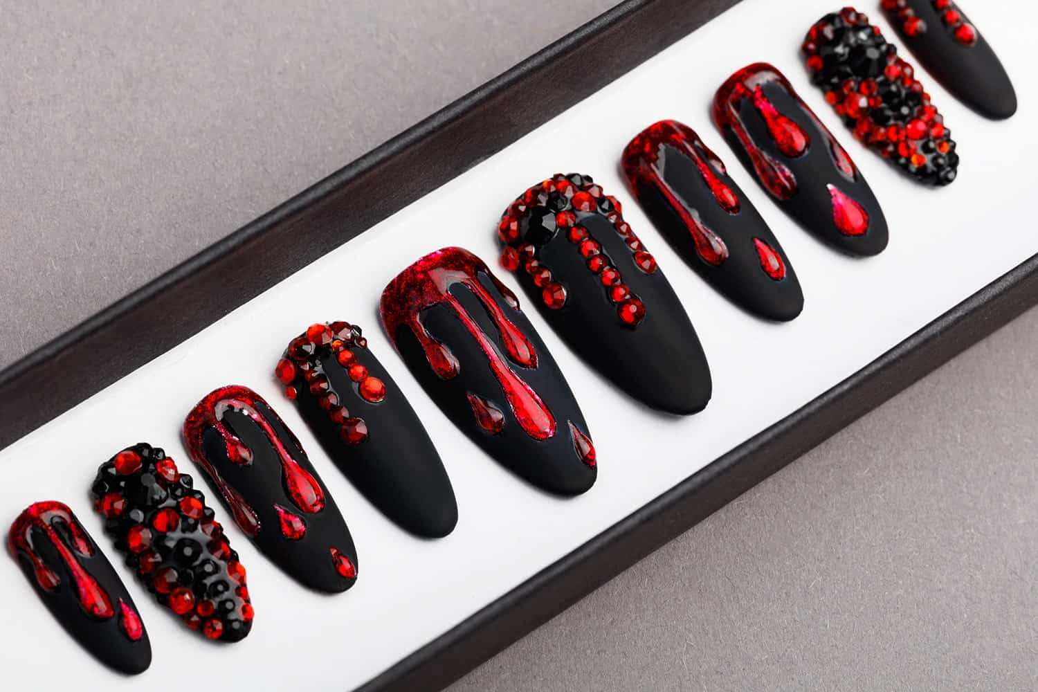 Black And Red Press on Nails with Swarovski Crystals   Lilium Nails