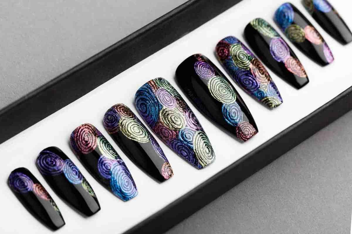 Circles Abstraction Press on Nails | Fake Nails | False Nails | Abstract Nail Art | Bling Nails