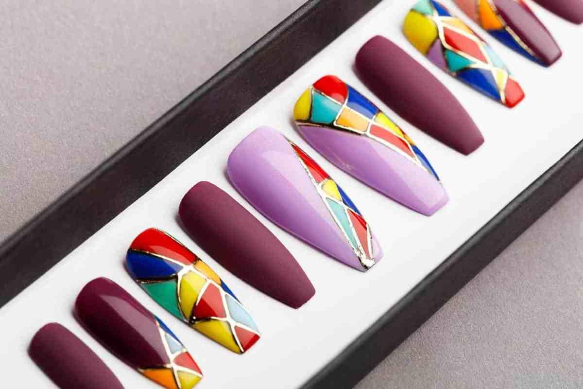 Enamel Jewelry inspired Press on Nails | Hand painted nail art | Fake Nails | False Nails | Abstract Nail Art | Bling Nails