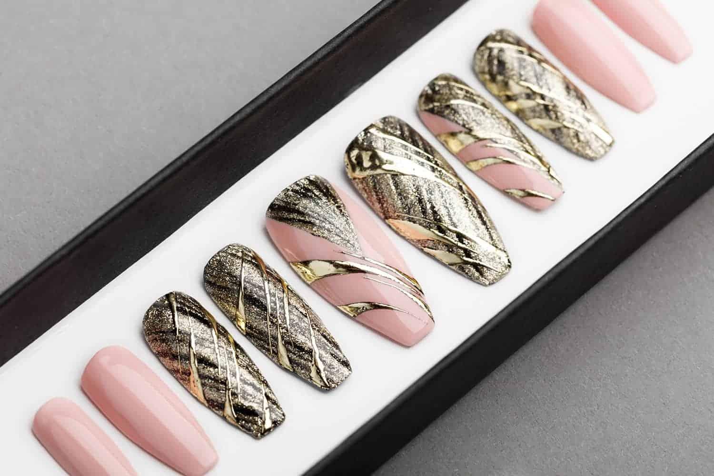 Gold & Nude Abstraction Press on Nails | Lilium Nails