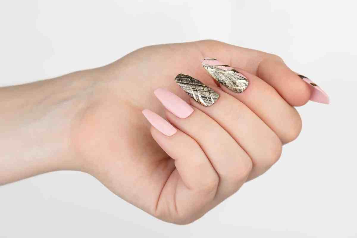 Gold and Nude Abstraction Press on Nails | Hand painted Nail Art | Fake Nails | False Nails | Glue On Nails | Tracery Nails | Acrylic Nails