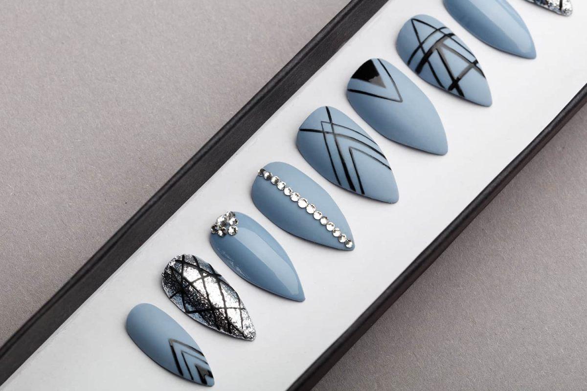 Gothic Geometry Press on Nails with Swarovski Crystals | Black Pattern | Hand painted Nail Art | Fake Nails | False Nails | Bling Nails