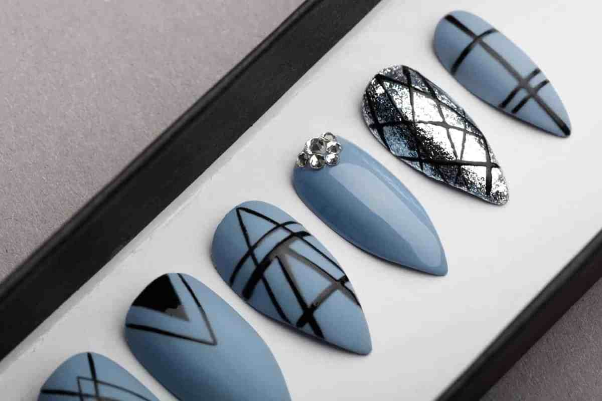 Gothic Geometry Press on Nails with Swarovski Crystals | Black Pattern | Hand painted Nail Art | Fake Nails | False Nails | Bling Nails