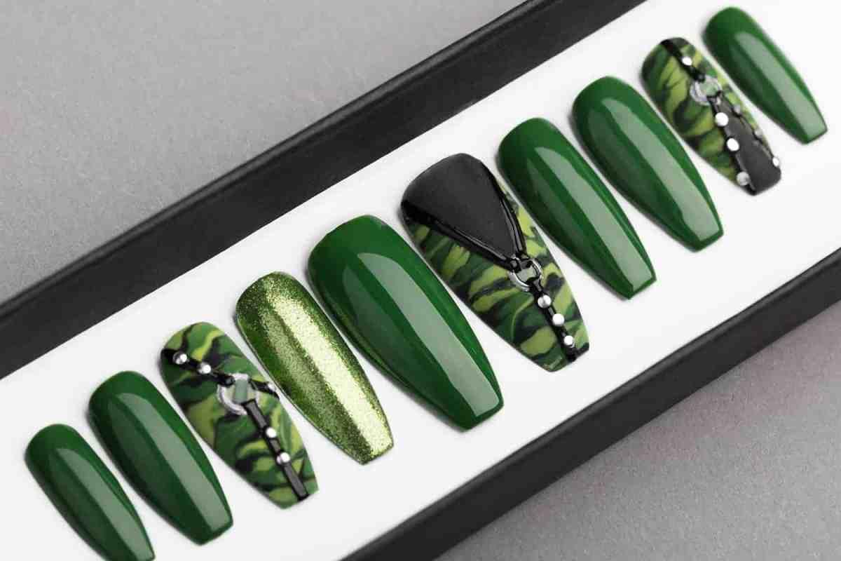 Green Camo Press on Nails | Hand painted Nail Art | Fake Nails | False Nails | Artificial Nails