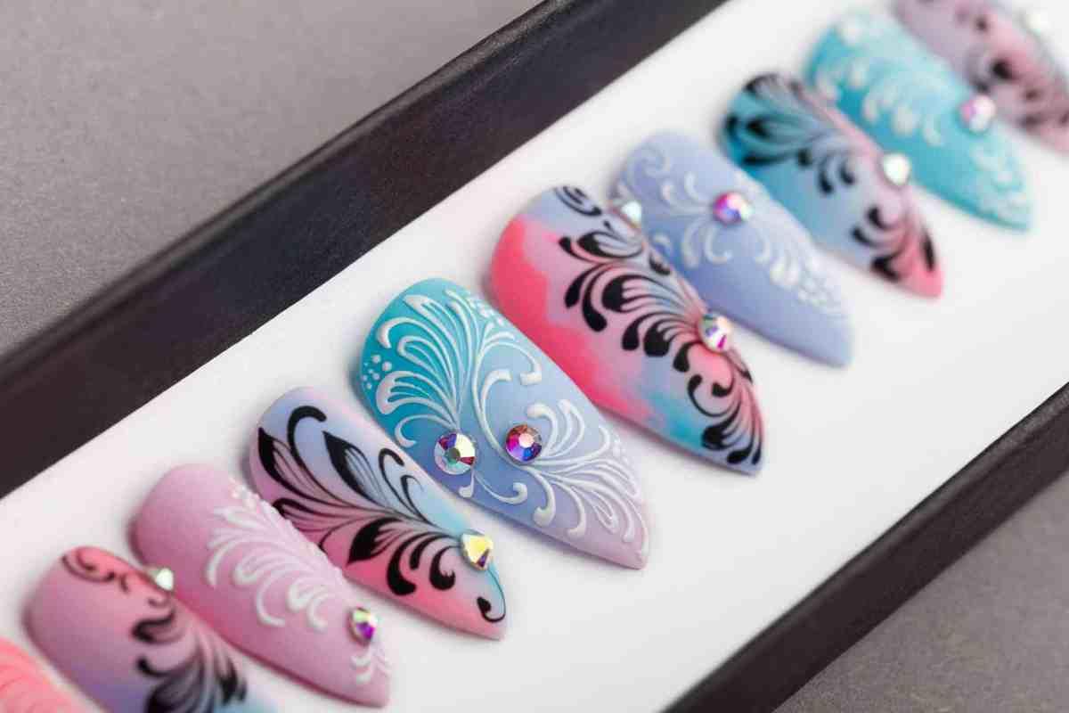 Summer Abstraction Press On Nails with Swarovski Crystals | Hand painted Nail Art | Fake Nails | False Nails | Artificial nails