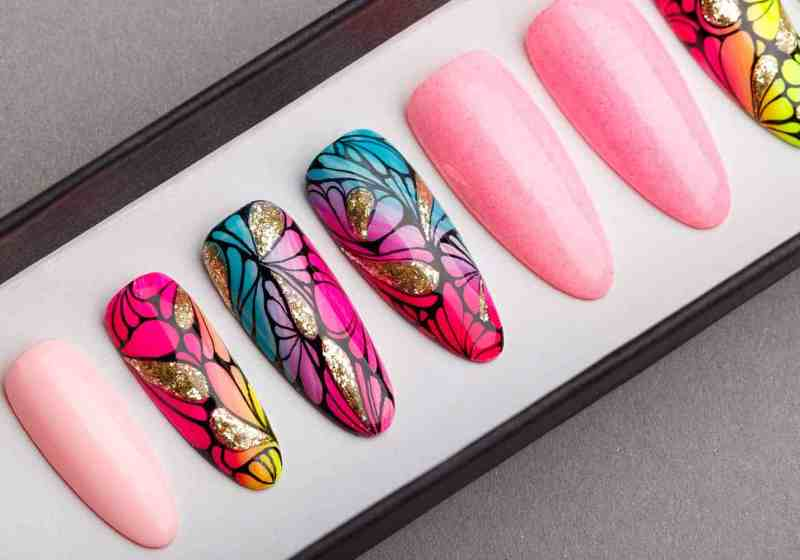 Tropical Press on Nails with Glitters | Fake Nails | False Nails | Handpainted Nail Art | Abstract Nail Art | Bling Nails