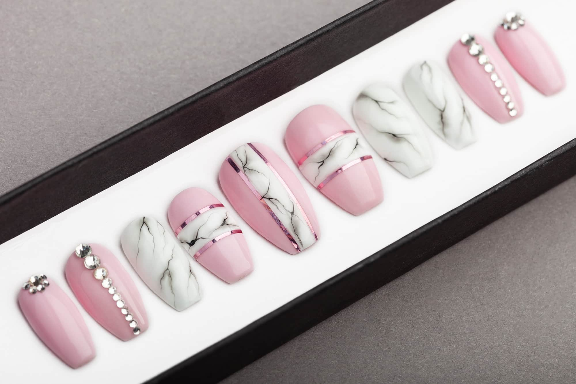 Pink White Marble Press On Nails With Swarovski Crystals Lilium