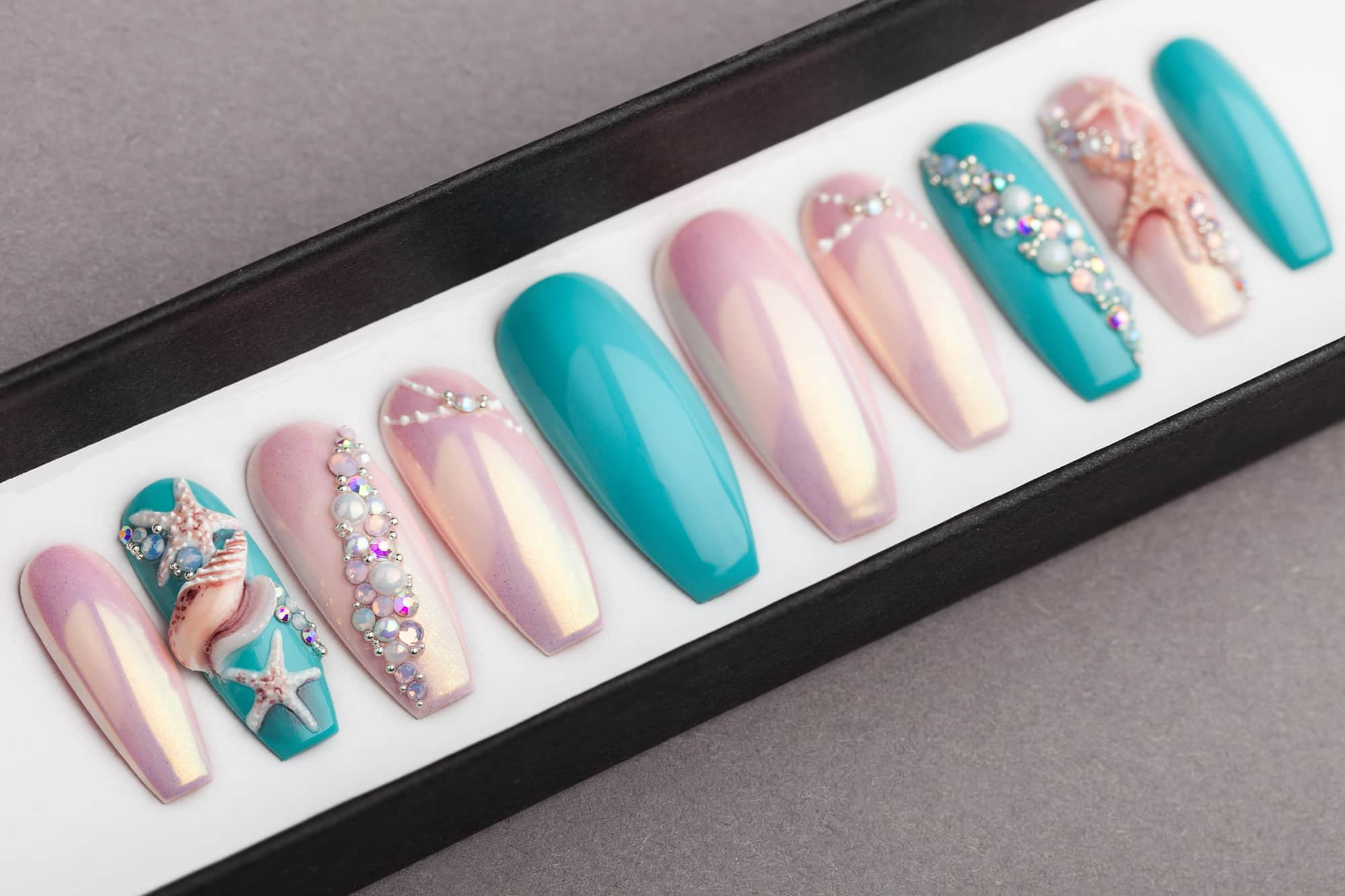 Under The Sea Press On Nails With 3d Sea Shell And Starfish Lilium