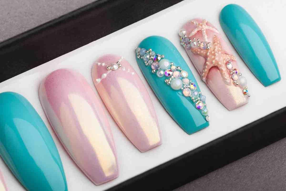 Under the Sea Press on Nails with 3D Sea Shell and Starfish | Nail Art | Fake Nails | Swarovski Crystals | Glue On Nails | Acrylic sculpting