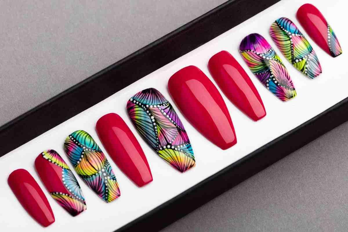 Miami Press on Nails | Handpainted Nail Art | Fake Nails | False Nails | Abstract Nail Art | Bling Nails | Artificial nails