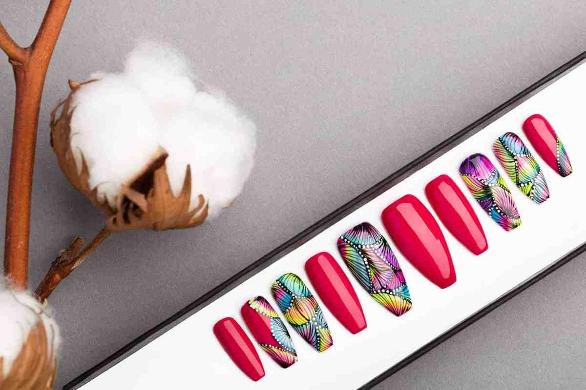 Miami Press on Nails   Handpainted Nail Art   Fake Nails   False Nails   Abstract Nail Art   Bling Nails   Artificial nails
