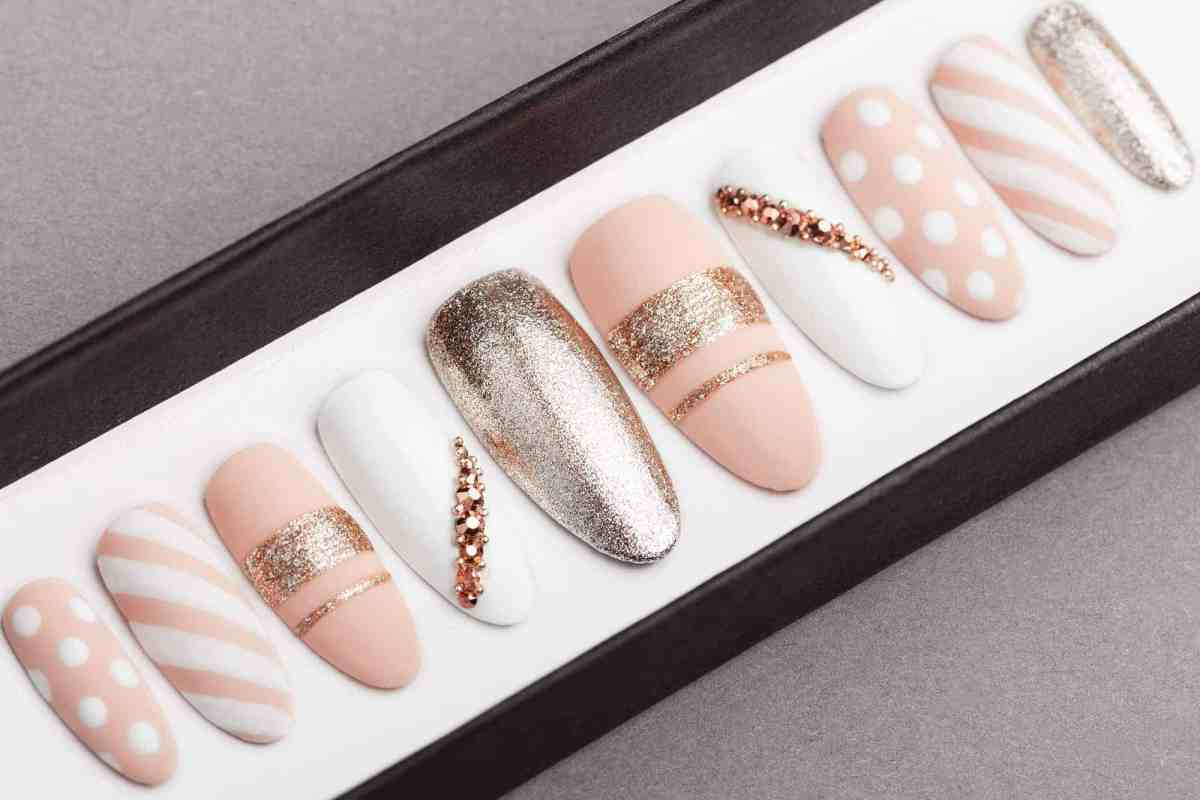 Stripes & Bubbles with Rose Gold Swarovski Crystals Press on Nails | Hand painted Nail Art | Fake Nails | False Nails