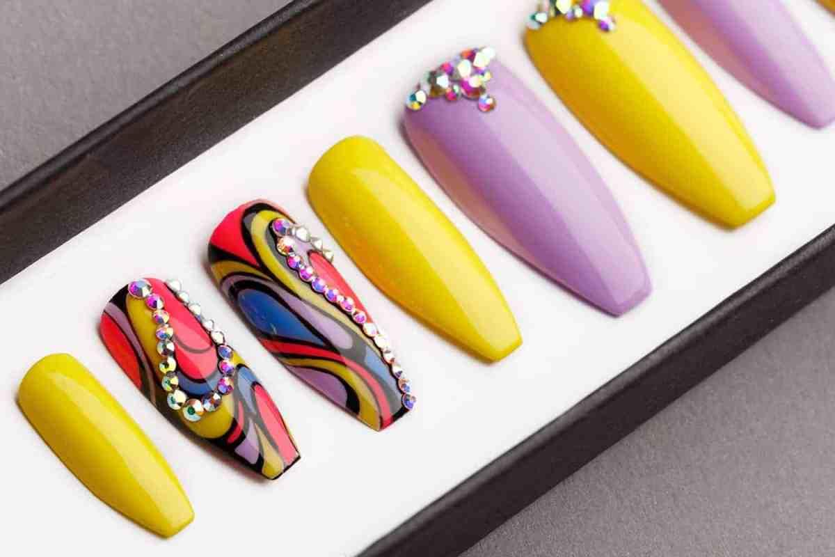 Tropical Abstraction Press on Nails with Swarovski crystals | Fake Nails | False Nails | Abstract Nail Art | Bling Nails