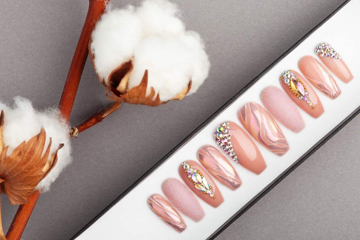 Pearl Beige Press on Nails | Fake Nails | False Nails | Glue On Nails | Swarovski Crystals | Handpainted Nail Art
