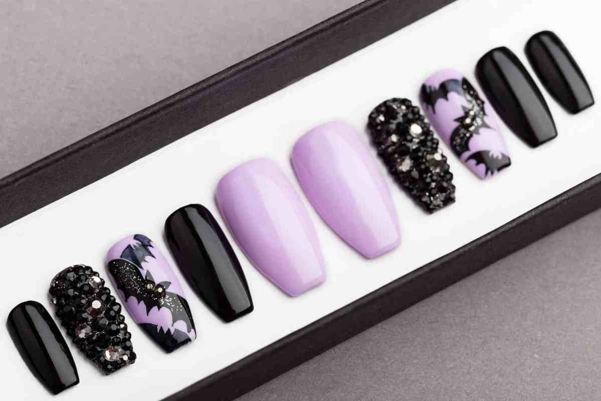 Halloween Bats Press on Nails with Swarovski Crystals | False Nails | Glue On Nails | Hand-painted Nail Art | Fake Nails