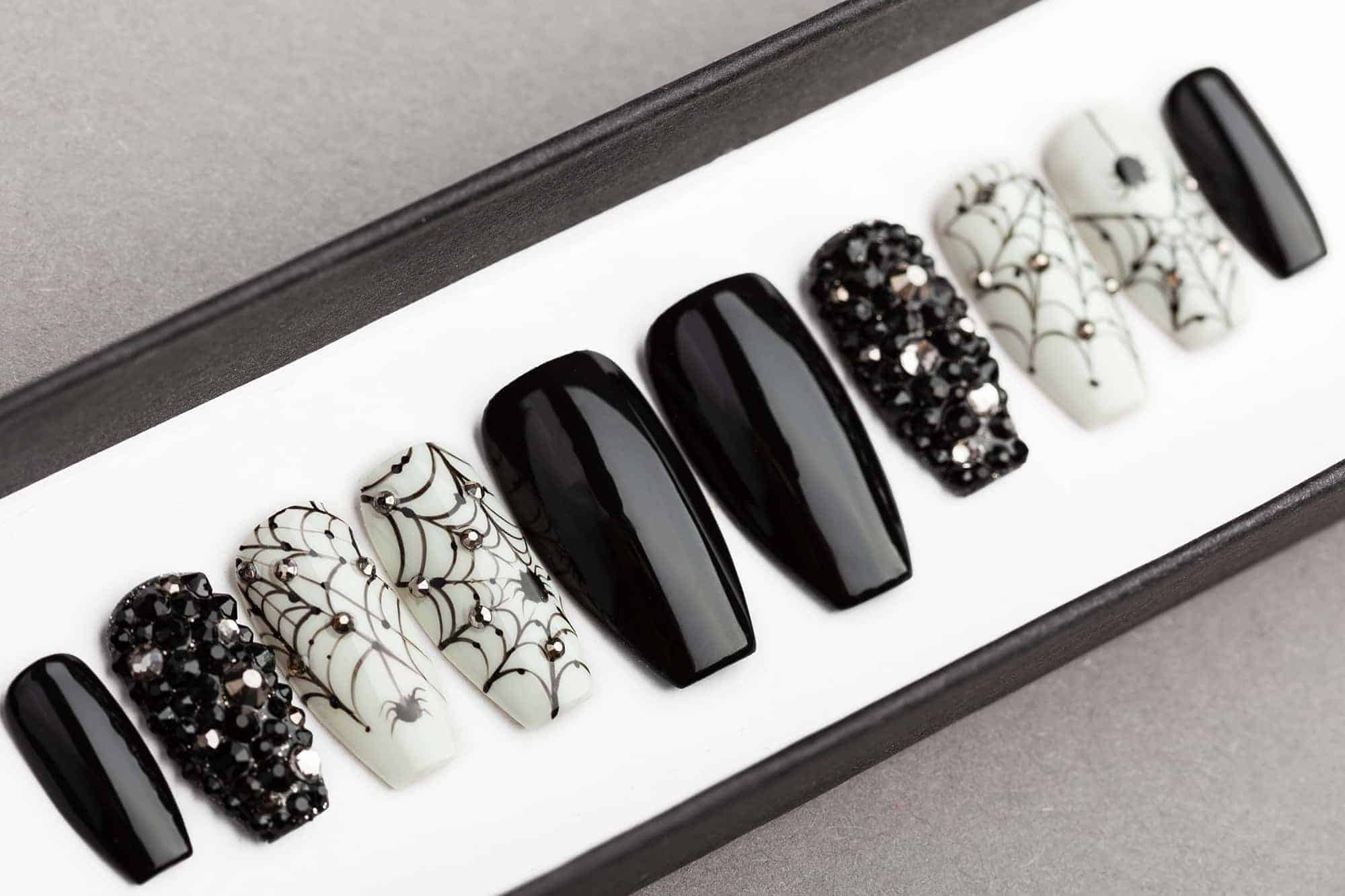 Spiders & Nets Halloween Press on Nails with Swarovski ...