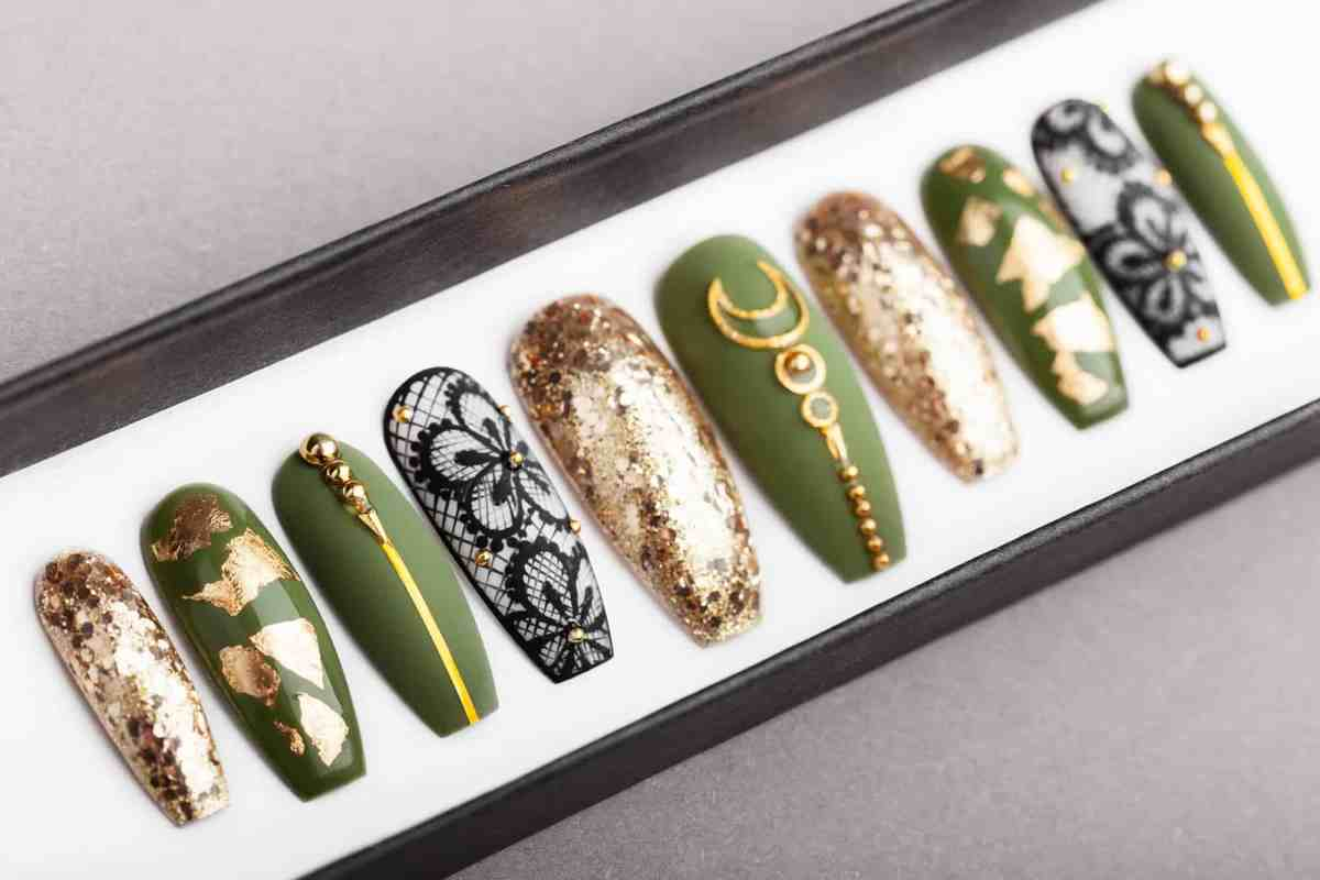 Olive Gold Press on Nails