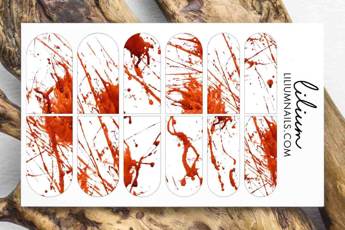 Halloween Nail Decals, Blood Splatter waterslide decal, Blood Splatter, Press On Nails Decals, Bloodstain, Nail Art, Nail Stickers