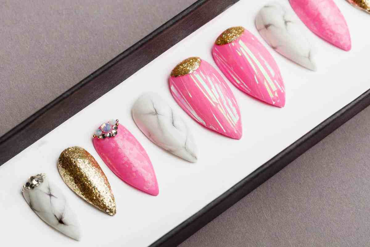 Pink Abstraction with Marble and Gold Press on Nails   Hand painted Nail Art   Fake Nails   False Nails   Artificial Nails   Glitters