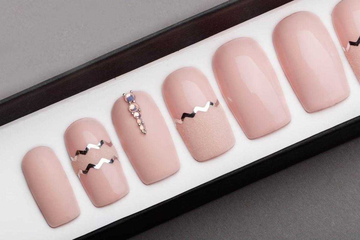 Pink Quartz Matte Press on Nails with Swarovski Crystals | Hand painted Nail Art | Fake Nails | False Nails