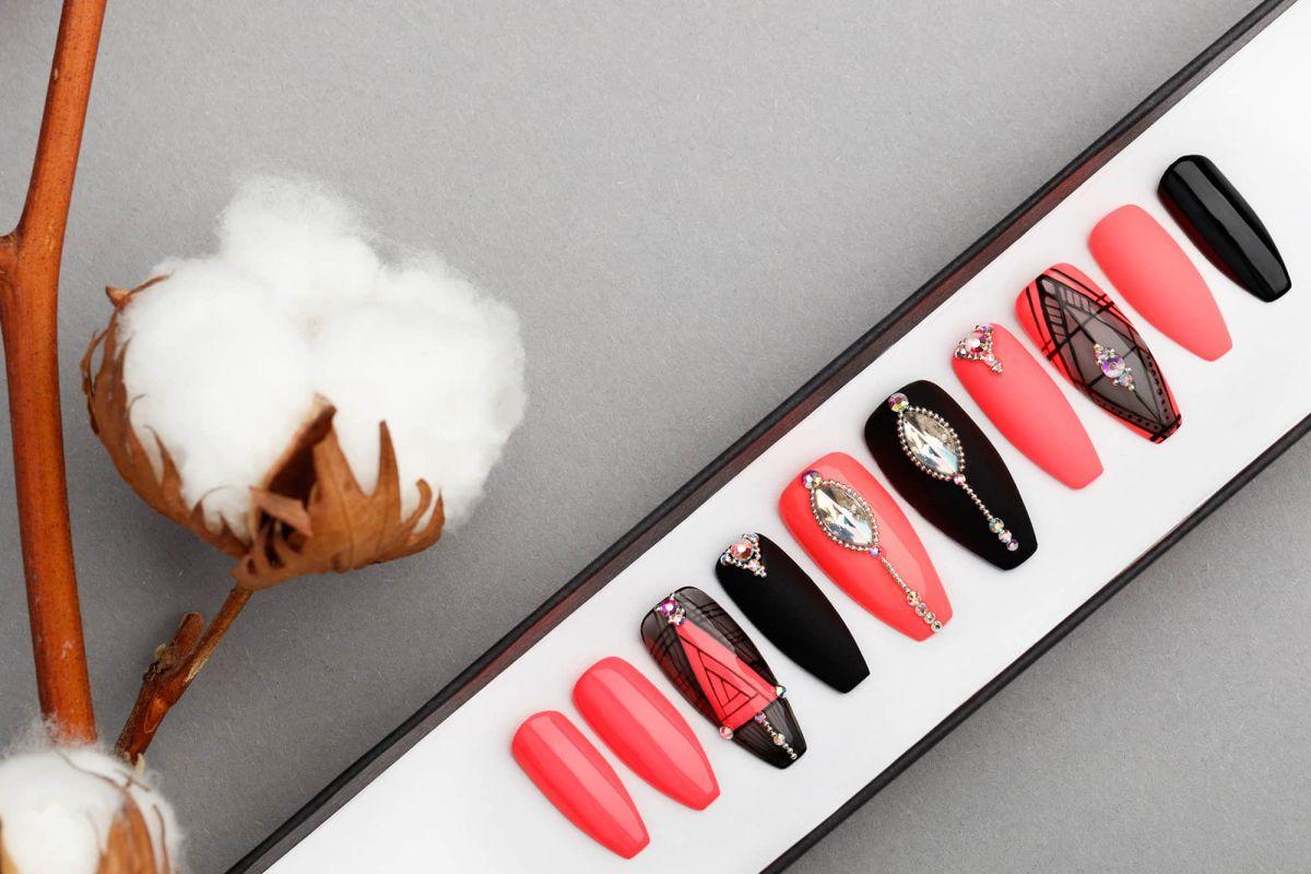 Red & Black Geometry Press on Nails with Swarovski Crystals | Hand painted Nail Art | Fake Nails | False Nails