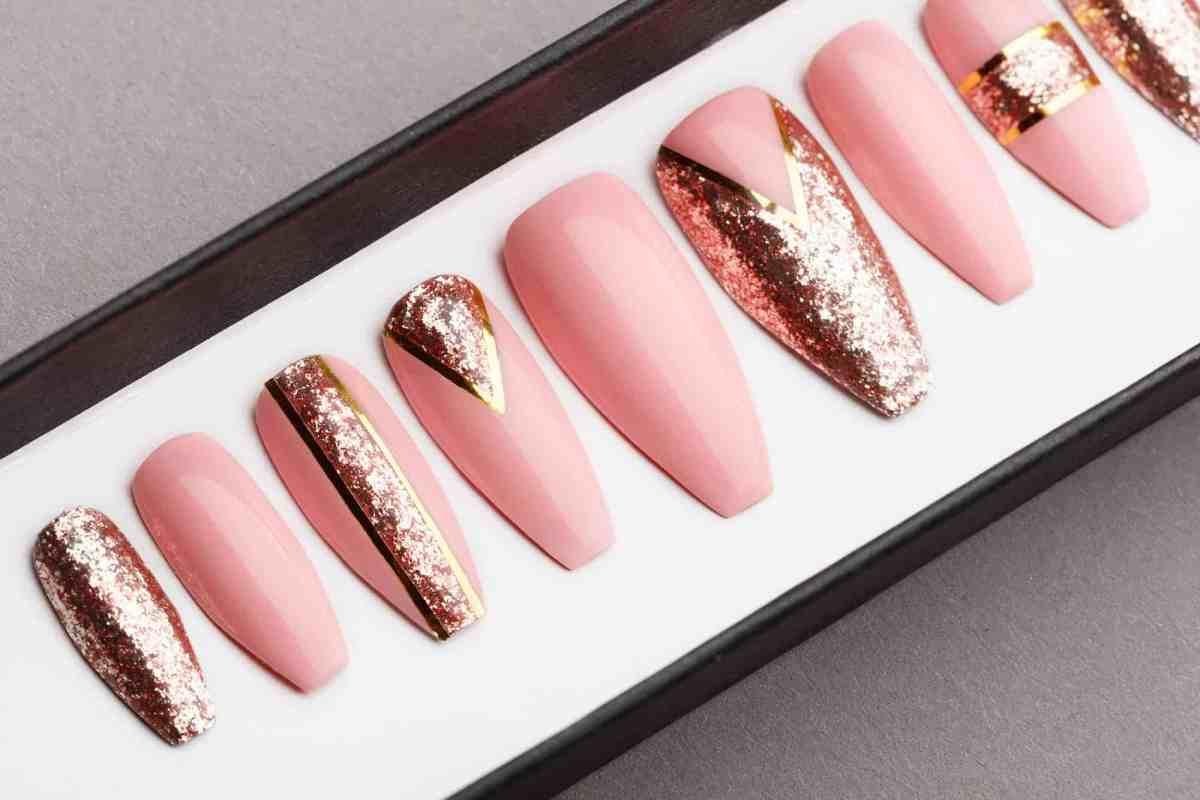Rose Gold Press on Nails | Hand painted Nail Art | Fake Nails | False Nails | Artificial Nails | Glitters