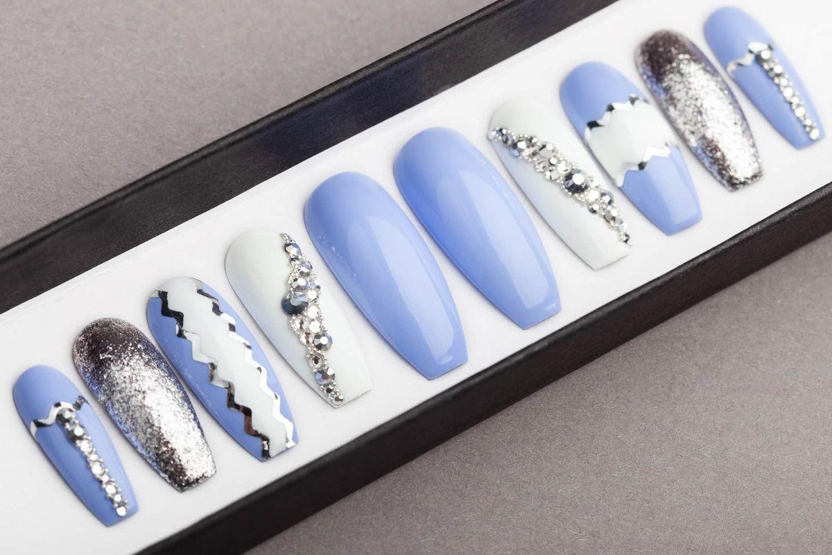 Sky Blue Press on Nails with Swarovski crystals   Hand-painted Nail Art   Fake Nails   False Nails   Glue On Nails