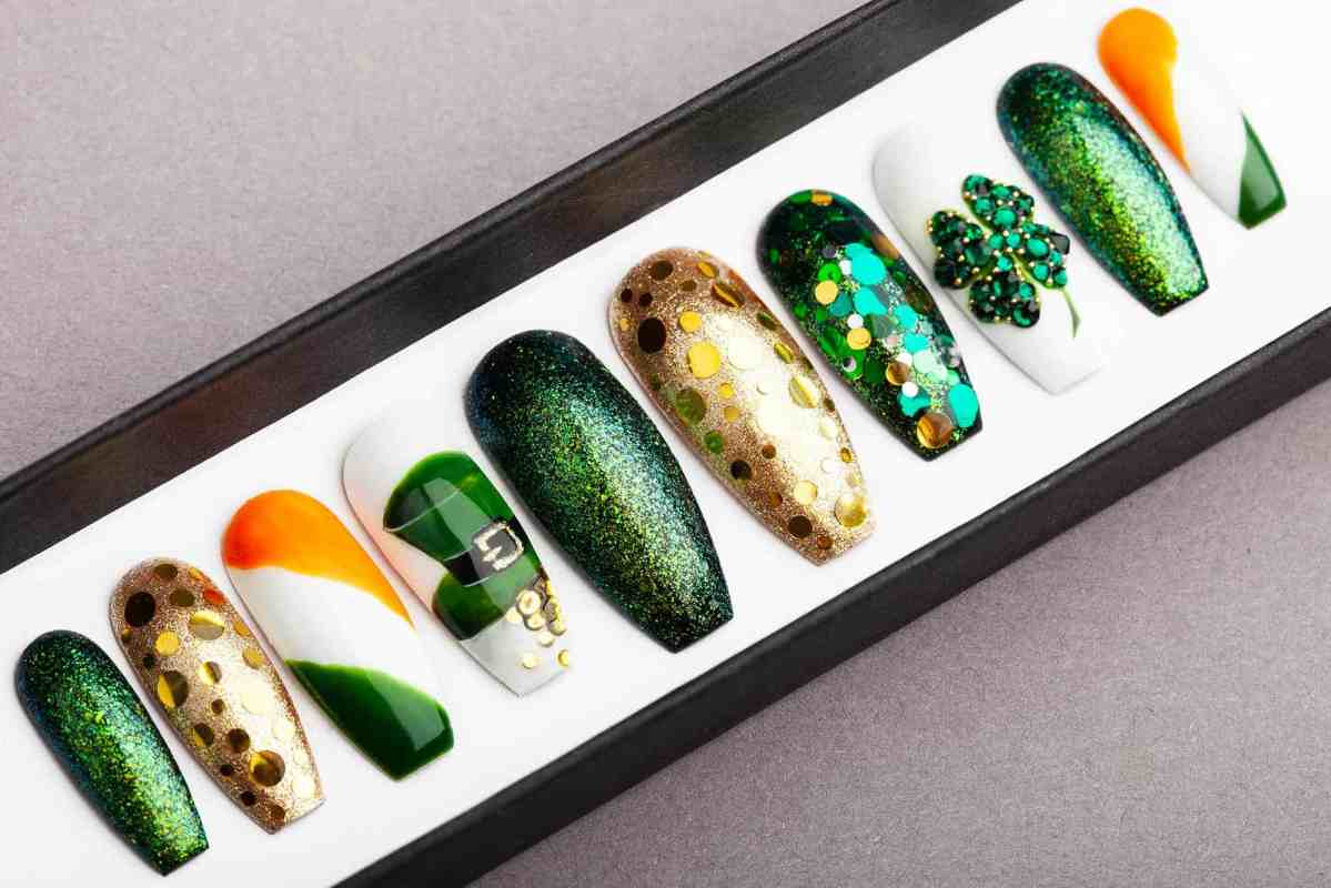 Saint Patrick's Day Press On Nails | Swarovski crystals | Nail Art | Fake Nails | False Nails | Glue On Nails