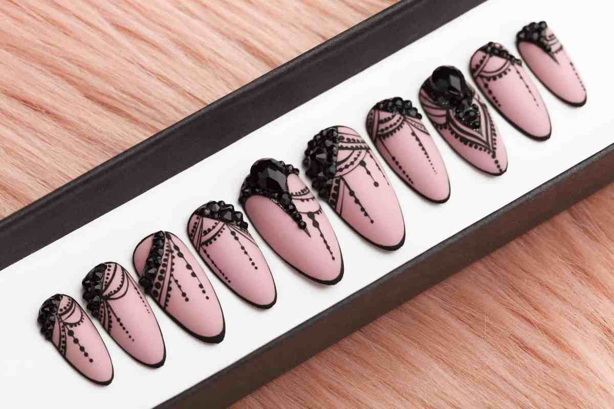 Luxury Beige Press on Nails with Black Rhinestones