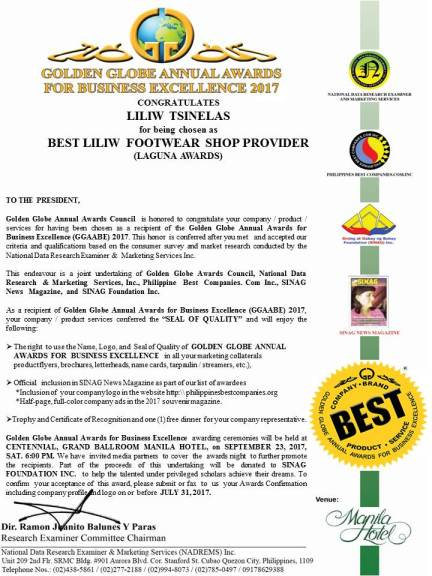 GOLDEN GLOBE ANNUAL AWARDS FOR BUSINESS EXCELLENCE Email