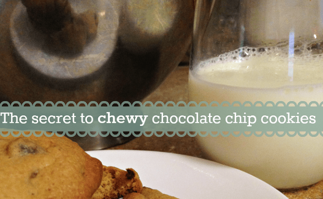 Delicious chewy chocolate chip cookies that stay chewy!