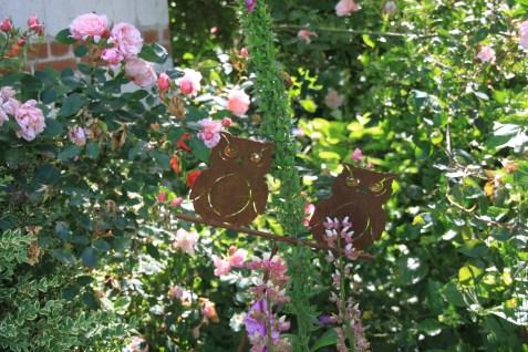 Le jardin des lianes - hiboux aux roses