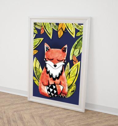 renard-fond-bleu-affiche-illustrée
