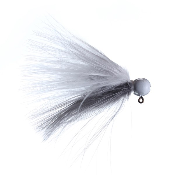 marabou jig 3/32 white/gray white head