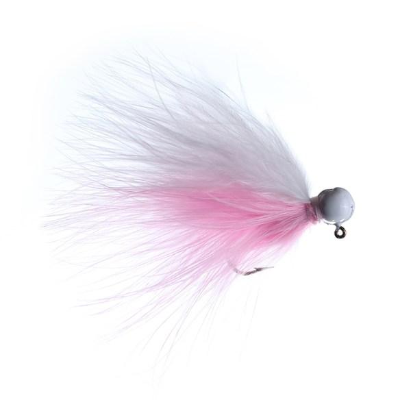 marabou jig 3/32 white/pink white head