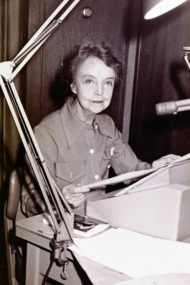 Lillian in the recording booth reading Helen Keller's My Religion 1974 b