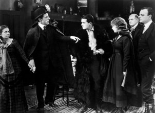 Actress Lillian Gish, Richard Barthelmess, Kate Bruce, D.W. Griffith, Mrs. David Landau, Burr McIntosh, Lowell Sherman in a scene from the movie Way Down East